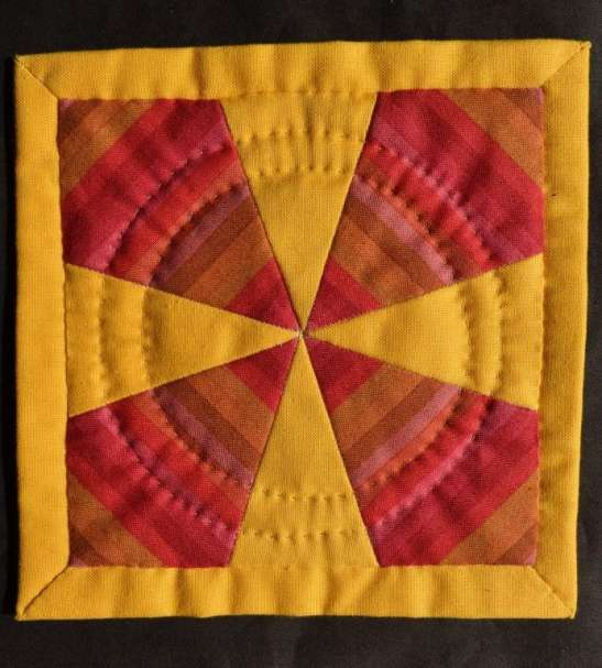 Yellow & red patchwork coaster