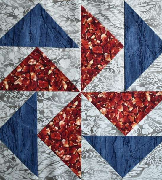 Blue red and grey patchwork block