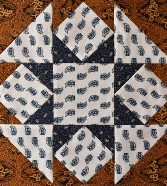 Blue and ochre star patchwork block