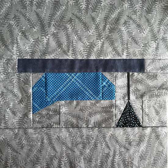 Example of quilt block with a graduation hat cap made using this PDF pattern